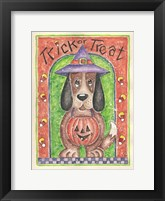 Framed Trick or Treat Dog holding Pumpkin