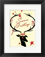Framed Holiday Reindeer & Sleigh