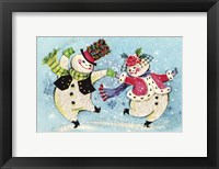 Framed Mr & Mrs Snowman