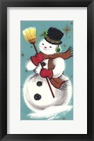 Framed Snowman Holding Broom