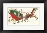 Framed Sleigh & Deer