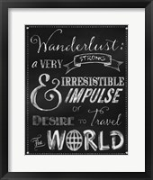 Framed Wanderlust Chalkboard Travel Series
