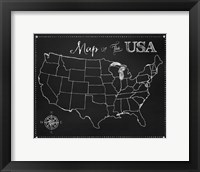 Framed Chalkboard US Map