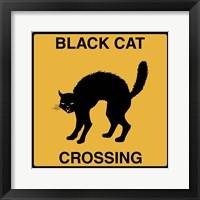 Framed Black Cat Crossing