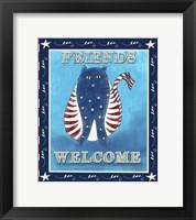 Framed Americana Welcome Kitty
