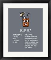 Framed Iced Tea Recipe Gray Background