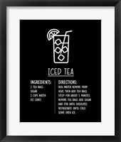 Framed Iced Tea Recipe Black Background