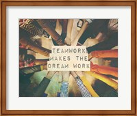 Framed Teamwork Makes The Dream Work Stacking Hands Color