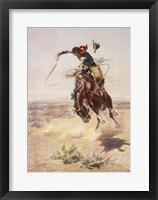 Framed Charles Marion Russell - A Bad Hoss