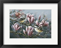 Framed Magnolia And Chickadees