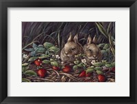Framed Strawberry Bunnies