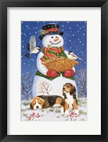 Framed Snowman, Birds and Beagles