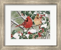Framed Snowy Perch - Cardinals