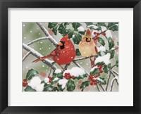 Framed Snowy Perch - Cardinals