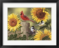 Framed Sunflowers and Songbirds