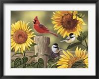 Framed Sunflowers and Songbirds