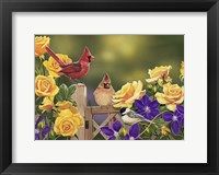 Framed Yellow Roses and Songbirds