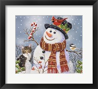 Framed Snowman and Kitten
