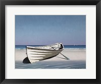 Framed White Boat On Beach