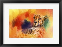 Framed Colorful Expressions Cheetah