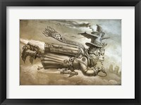 Framed Steampunk Cat Rocketeer