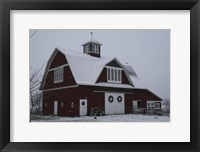 Framed Red Barn in Winter