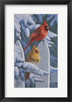 Framed Snow Cardinals