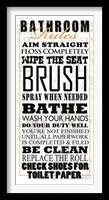 Framed Bathroom Rules (Black on White)