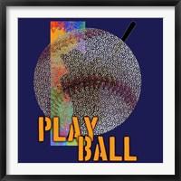 Framed Play Ball Baseball