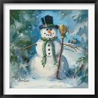 Framed Sweeping Snowman