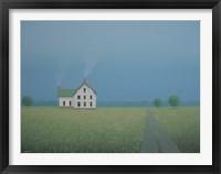 Framed White Farmhouse Along the Old Country Lane
