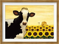 Framed Sunflower Cow