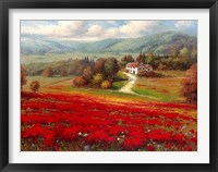 Framed Poppy Fields Afar