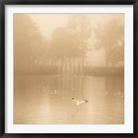 Framed Golden Lake in Fog