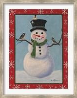 Framed Snowman & Chickadees