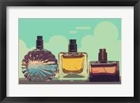 Framed Vintage Fashion Perfume Bottles Blue