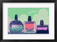 Framed Vintage Fashion Perfume Bottles Green