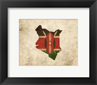 Framed Map with Flag Overlay Kenya
