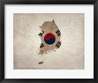 Framed Map with Flag Overlay South Korea