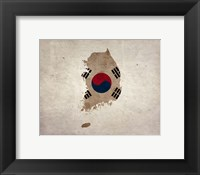Framed Map with Flag Overlay South Korea