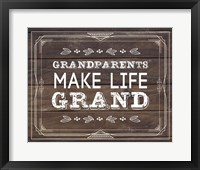 Framed Grandparents Make Life Grand - Wood Background