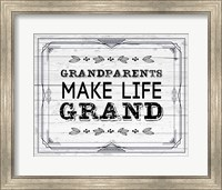 Framed Grandparents Make Life Grand - Painted Wood Background