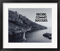 Framed Decide Commit Succeed - Sailboat Grayscale