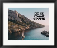 Framed Decide Commit Succeed - Sailboat Color