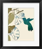 Framed Hummingbird and Morning Glories