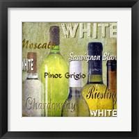 Framed White Wine Bottles