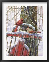 Framed Red Sled With Cardinals