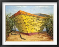 Framed Yellow and Orange Rowboat