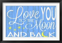 Framed Love You to the Moon - Blue