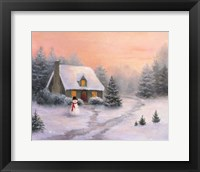 Framed Snowman Cottage